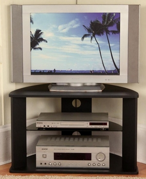 Attractive Glass Shelved Black Corner TV Stand by 4D Concepts