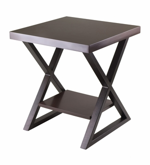 Attractive Korsa End Table with Dark Bronze Legs by Winsome Woods