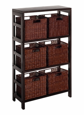 Attractive Leo 7pc Shelf with 6 Small Baskets by Winsome Woods