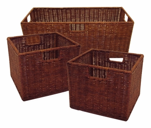 Attractive Leo Set of 3 Wired Baskets, 1 Large and 2 Small by Winsome Woods
