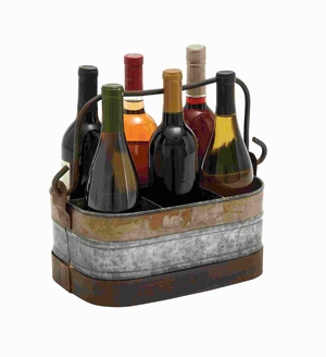 Attractive Metal Galvanized Wine Holder with Six Compartments Brand Woodland