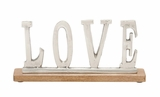 "Attractive Metal Wood Love 14""W 6""H"
