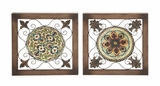 Attractive Metal Wood Wall Plaque 2 Assorted by Woodland Import