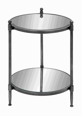 Attractive Mirror Accent Table with Metal Framework Brand Woodland