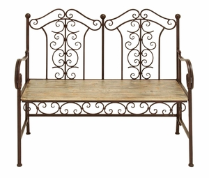 Attractive Outdoor Park Bench With Copper Brown Wood Brand Woodland