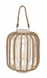 Attractive Plump Styled Wood Glass Lantern by Woodland Import