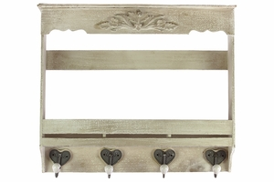 Attractive Polished Wooden Wall Hook Distressed White
