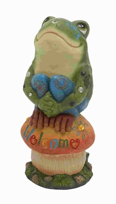 Attractive Poly Stone Frog On Mushroom with Welcome Sign Brand Woodland