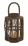 Attractive Round Shaped Wood Glass Lantern by Woodland Import