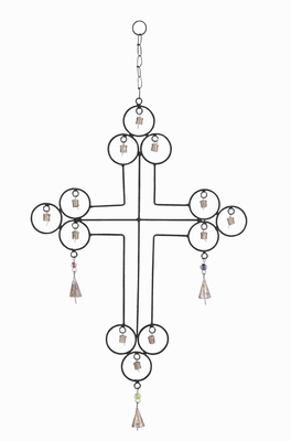 Attractive Rustic Metal Wind Chime With A Cross Designs - 26762 by Benzara