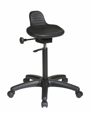 Attractive Saddle Seat Stool with Seat Angle Adjustment and Glides by Office Star