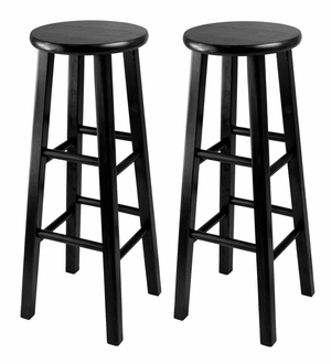 Attractive Set of 2,Obsidian Bar Stool With Square Leg Stools by Winsome Woods