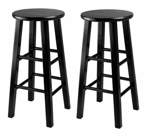 Attractive Set of 2,Obsidian Counter Stool With Square Leg Stools by Winsome Woods