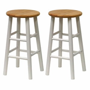 Attractive Set of 2 Unique Styled Beveled Seat Stool by Winsome Woods
