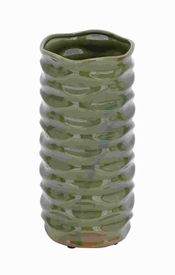 Attractive Sleek and Stylish Ceramic Vase Glossy Green Finish Brand Woodland