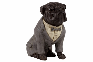 Attractive Small Piece of Resin Bull Dog with Boe Tie by Urban Trends Collection