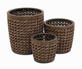 Attractive Sturdy Wood Pe Planter with Intricate Weave Pattern Brand Woodland
