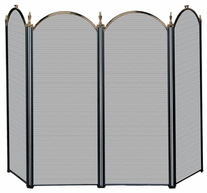 Attractive Styled 4 Fold Antique Brass/Black Screen