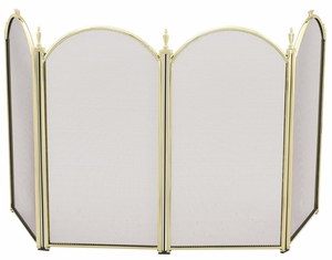 Attractive Styled 4 Fold Mini Polished Brass Screen