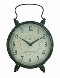 Attractive Styled Antique Metal Table Clock by Woodland Import