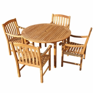 Attractive Styled Fancy 5 Pcs Teak Dining Set by Southern Enterprises