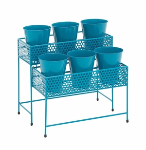 Attractive Styled Metal 2 Tier Plant Stand Blue by Woodland Import