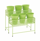 Attractive Styled Metal 2 Tier Plant Stand Green by Woodland Import