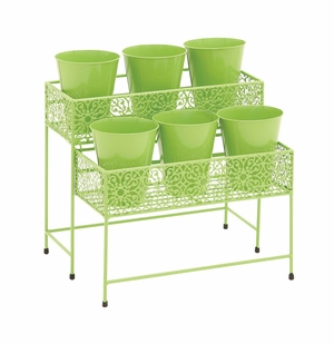 Attractive Styled Metal 2 Tier Plant Stand Green - 28938 by Benzara