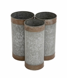 Attractive Styled Metal Galvanized Planter by Woodland Import