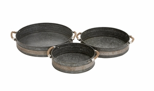 Attractive Styled Metal Galvanized Tray by Woodland Import