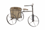 Attractive Styled Metal Wood Tricycle Planter by Woodland Import