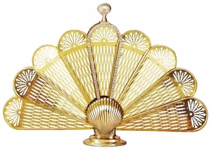 Attractive Styled Polished Brass Shell Fan Screens-Medium