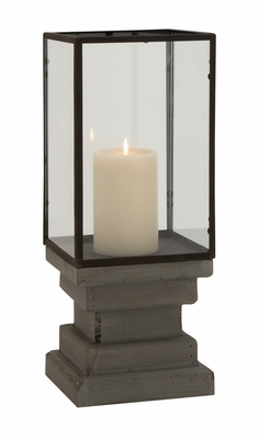 Attractive Styled Wood Glass Candle Holder by Woodland Import