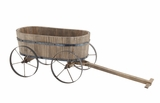Attractive Styled Wood Metal Wagon Planter by Woodland Import