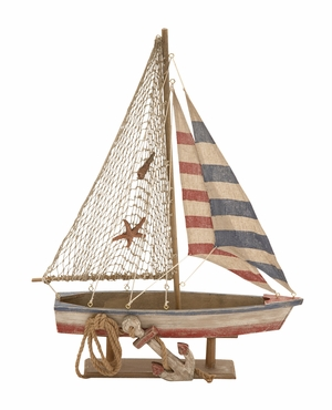 Attractive Styled Wood Rope Sailing Boat by Woodland Import