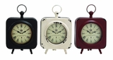 Attractive Styled Yangtze Metal Table Clock 3 Assorted by Woodland Import
