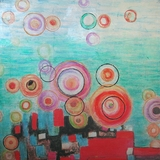 Attractive Stylish Bright Bubbles Fancy Painting by Yosemite Home Decor