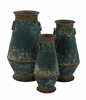 Attractive Tall Metal Vase with Classic Style - Set of 3 Brand Woodland