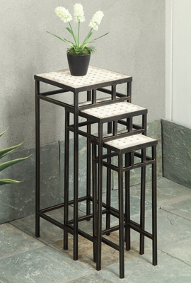 Attractive Three Slate Square Shaped Plant Stands by 4D Concepts