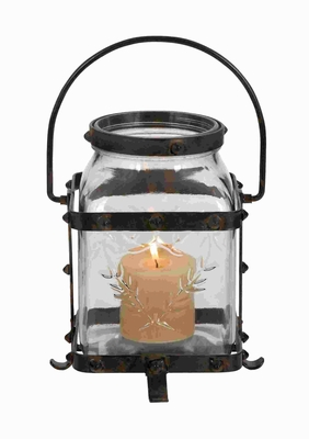 Attractive Unique Metal Glass Lantern with Great Rustic Design Brand Woodland