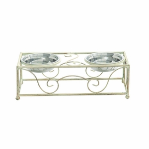 Attractive White Designed Metal Pet Feeder Brand Benzara