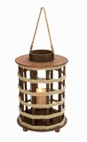 Attractive Wood Lantern with Circular Cap and Rope Handle Brand Woodland