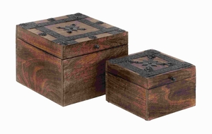 Attractive Wood Metal Box with Simple Cube-Shaped Design Brand Woodland