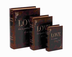 Attractive Wooden and Leather Book Box with Neat Lines (Set of 3) Brand Woodland