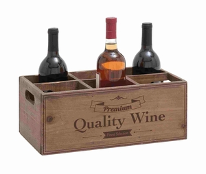 Attractive Wooden Box Style  Portable Wine Holder Brand Benzara