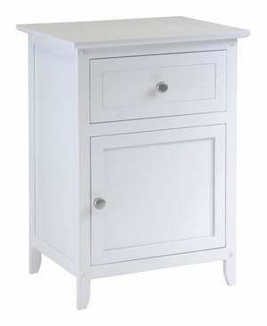 Attractively Carved Night White Stand Accent Table with Drawer by Winsome Woods
