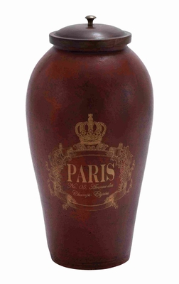 Attractively Painted Brown Terracotta Jar with Wooden Lid Brand Woodland