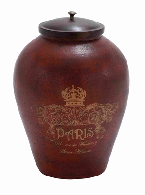 Attractively Painted Terracotta Jar with Wooden Lid in Brown Brand Woodland