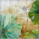 Attractively Styled Celadon Lotus Classy Painting by Yosemite Home Decor