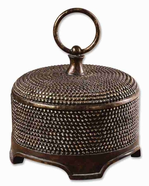 Aubriana Decorative Box With Burnished Silver Beaded Details Brand Uttermost